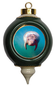 Manatee Victorian Green and Gold Christmas Ornament