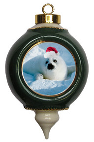 Seal Victorian Green and Gold Christmas Ornament