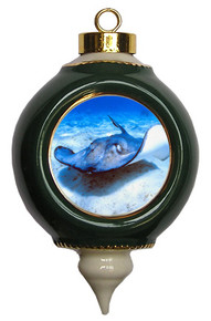 Stingray Victorian Green and Gold Christmas Ornament