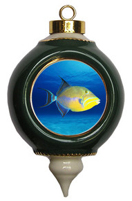 Triggerfish Victorian Green and Gold Christmas Ornament