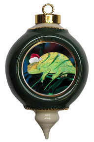 Chameleon Victorian Green and Gold Christmas Ornament
