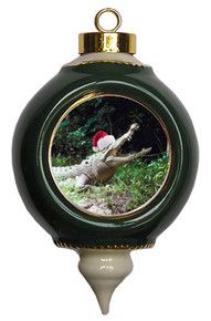 Crocodile Victorian Green and Gold Christmas Ornament