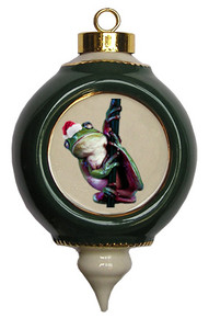 Tree Frog Victorian Green and Gold Christmas Ornament