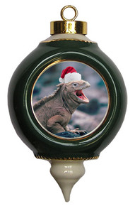 Iguana Victorian Green and Gold Christmas Ornament