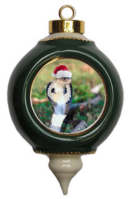 Cobra Snake Victorian Green and Gold Christmas Ornament