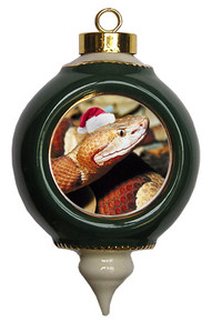 Copperhead Snake Victorian Green and Gold Christmas Ornament