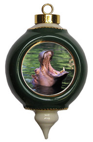 Hippo Victorian Green and Gold Christmas Ornament