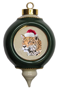 Jaguar Victorian Green and Gold Christmas Ornament