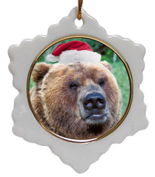 Bear Jolly Santa Snowflake Christmas Ornament