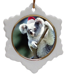 Koala Bear Jolly Santa Snowflake Christmas Ornament