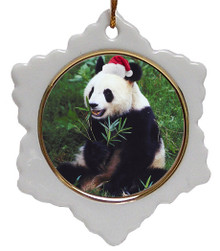 Panda Bear Jolly Santa Snowflake Christmas Ornament