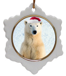 Polar Bear Jolly Santa Snowflake Christmas Ornament