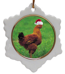 Chicken Jolly Santa Snowflake Christmas Ornament