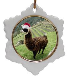 Llama Jolly Santa Snowflake Christmas Ornament
