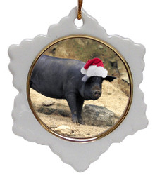 Pig Jolly Santa Snowflake Christmas Ornament