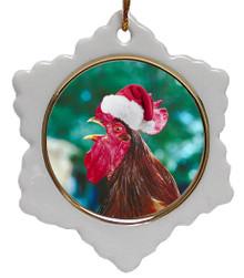 Rooster Jolly Santa Snowflake Christmas Ornament