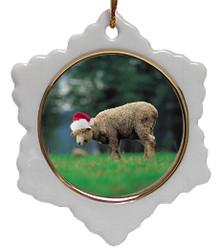 Sheep Jolly Santa Snowflake Christmas Ornament