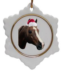 Horse Jolly Santa Snowflake Christmas Ornament
