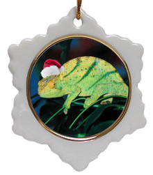 Chameleon Jolly Santa Snowflake Christmas Ornament