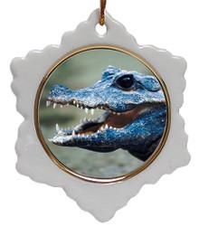 Crocodile Jolly Santa Snowflake Christmas Ornament