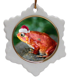 Tomato Frog Jolly Santa Snowflake Christmas Ornament