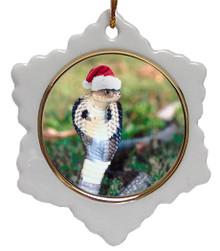 Cobra Snake Jolly Santa Snowflake Christmas Ornament