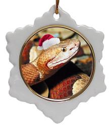 Copperhead Snake Jolly Santa Snowflake Christmas Ornament