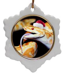 Python Snake Jolly Santa Snowflake Christmas Ornament