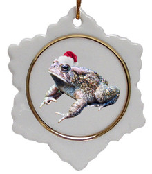 Toad Jolly Santa Snowflake Christmas Ornament