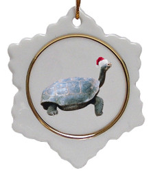Turtle Jolly Santa Snowflake Christmas Ornament