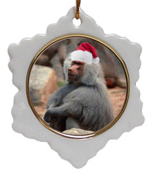 Baboon Jolly Santa Snowflake Christmas Ornament