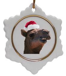 Camel Jolly Santa Snowflake Christmas Ornament