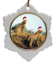 Cheetah Jolly Santa Snowflake Christmas Ornament