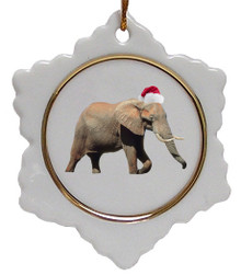 Elephant Jolly Santa Snowflake Christmas Ornament