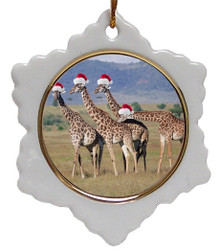 Giraffe Jolly Santa Snowflake Christmas Ornament