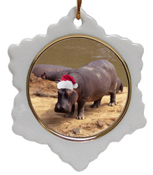 Hippo Jolly Santa Snowflake Christmas Ornament