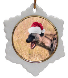 Hyena Jolly Santa Snowflake Christmas Ornament