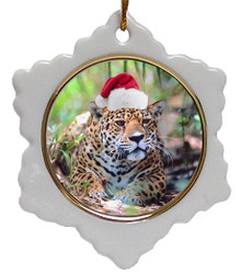 Jaguar Jolly Santa Snowflake Christmas Ornament