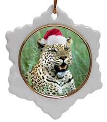 Leopard Jolly Santa Snowflake Christmas Ornament