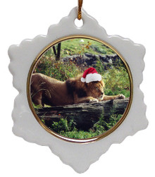 Lion Jolly Santa Snowflake Christmas Ornament