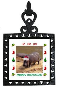 Hippo Christmas Trivet