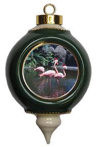 Flamingo Victorian Green & Gold Christmas Ornament