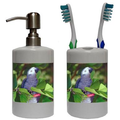 African Grey Parrot Bathroom Set
