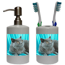 British Shorthair Cat Bathroom Set