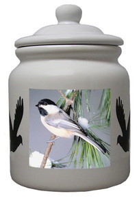 Chickadee Ceramic Color Cookie Jar