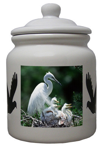 Egret Ceramic Color Cookie Jar
