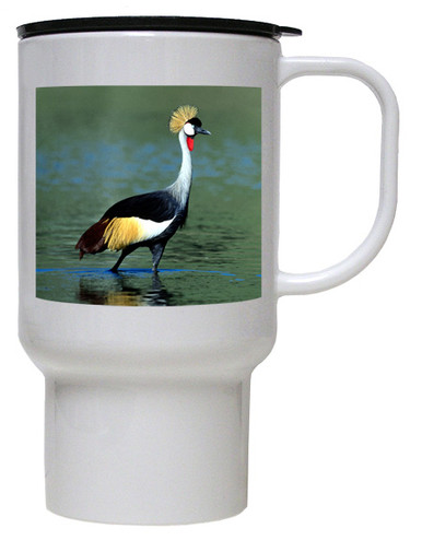 Crowned Crane Polymer Plastic Travel Mug