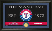 "Texas Rangers ""The Man Cave"" Bronze Coin Panoramic Photo Mint"