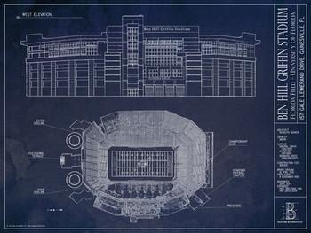 Florida gators ben hill griffin stadium blueprint poster for Florida blueprint
