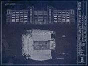 Texas Longhorns - Royal Memorial Stadium Blueprint Poster